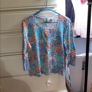 J. Jill Medium Floral Button Down Sweater